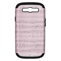 Vintage Pink Music Notes Samsung Galaxy S Iii Hardshell Case (pc+silicone) by Celenk