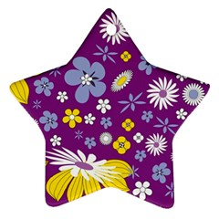 Floral Flowers Wallpaper Paper Star Ornament (two Sides) by Celenk