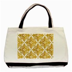 Gold Pattern Wallpaper Fleur Basic Tote Bag (two Sides) by Celenk