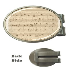 Vintage Beige Music Notes Money Clips (oval)  by Celenk