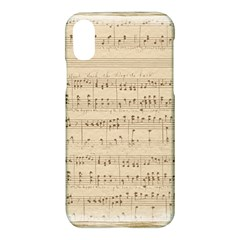 Vintage Beige Music Notes Apple Iphone X Hardshell Case by Celenk