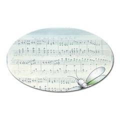 Vintage Blue Music Notes Oval Magnet by Celenk