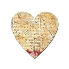 Background Old Parchment Musical Heart Magnet by Celenk