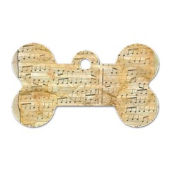 Background Old Parchment Musical Dog Tag Bone (two Sides) by Celenk