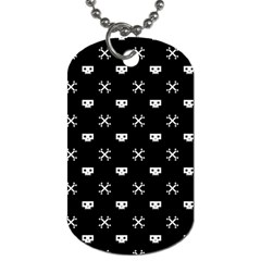 White Pixel Skull Pirate Dog Tag (two Sides) by jumpercat