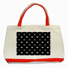 White Pixel Skull Pirate Classic Tote Bag (red) by jumpercat