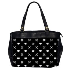 White Pixel Skull Pirate Office Handbags (2 Sides)  by jumpercat