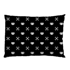 White Pixel Skull Pirate Pillow Case (two Sides) by jumpercat