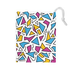 Retro Shapes 01 Drawstring Pouches (large)  by jumpercat