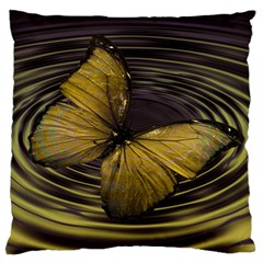 Butterfly Insect Wave Concentric Large Flano Cushion Case (two Sides) by Celenk