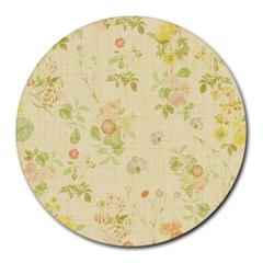 Floral Wallpaper Flowers Vintage Round Mousepads by Celenk