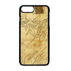 Vintage Map Background Paper Apple Iphone 8 Plus Seamless Case (black) by Celenk