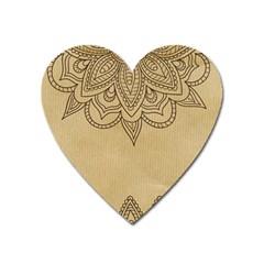 Vintage Background Paper Mandala Heart Magnet by Celenk