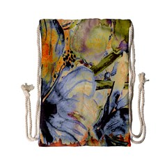 Flower Texture Pattern Fabric Drawstring Bag (small) by Celenk