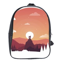 Design Art Hill Hut Landscape School Bag (xl) by Celenk