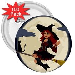 Witch Witchcraft Broomstick Broom 3  Buttons (100 Pack)  by Celenk