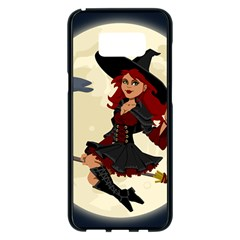 Witch Witchcraft Broomstick Broom Samsung Galaxy S8 Plus Black Seamless Case by Celenk