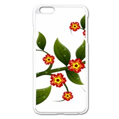 Flower Branch Nature Leaves Plant Apple Iphone 6 Plus/6s Plus Enamel White Case by Celenk