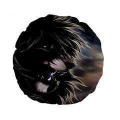 Angry Lion Digital Art Hd Standard 15  Premium Round Cushions by Celenk
