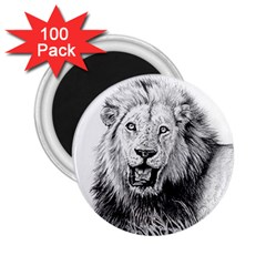 Lion Wildlife Art And Illustration Pencil 2 25  Magnets (100 Pack)  by Celenk