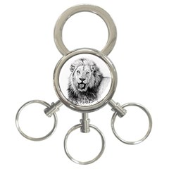 Lion Wildlife Art And Illustration Pencil 3 Ring Key Chains by Celenk