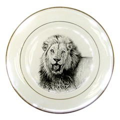 Lion Wildlife Art And Illustration Pencil Porcelain Plates by Celenk