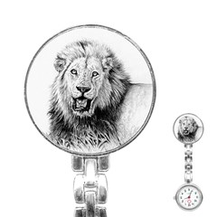 Lion Wildlife Art And Illustration Pencil Stainless Steel Nurses Watch by Celenk
