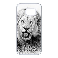 Lion Wildlife Art And Illustration Pencil Samsung Galaxy S7 Edge White Seamless Case by Celenk