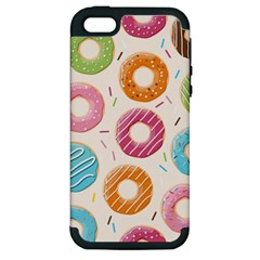 Colored Doughnuts Pattern Apple Iphone 5 Hardshell Case (pc+silicone) by allthingseveryday