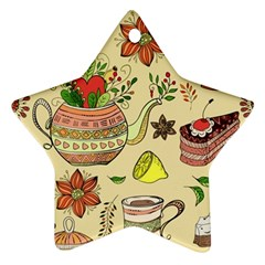 Colored Afternoon Tea Pattern Ornament (star) by allthingseveryday