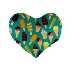 Summer Treats Standard 16  Premium Flano Heart Shape Cushions by allthingseveryday