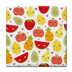 Happy Fruits Pattern Tile Coasters by allthingseveryday