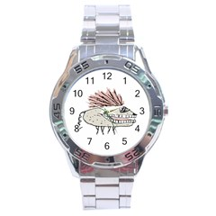 Monster Rat Hand Draw Illustration Stainless Steel Analogue Watch by dflcprints