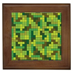 Tetris Camouflage Forest Framed Tiles by jumpercat