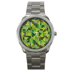 Tetris Camouflage Forest Sport Metal Watch by jumpercat