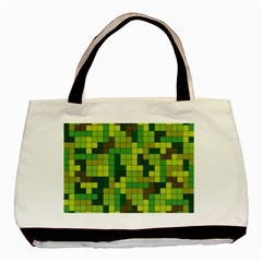 Tetris Camouflage Forest Basic Tote Bag by jumpercat