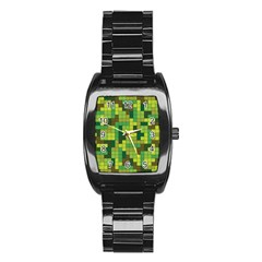 Tetris Camouflage Forest Stainless Steel Barrel Watch by jumpercat