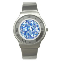 Tetris Camouflage Marine Stainless Steel Watch by jumpercat