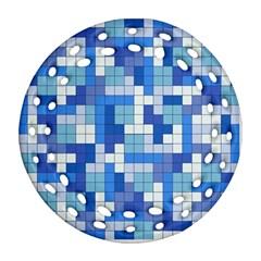 Tetris Camouflage Marine Ornament (round Filigree) by jumpercat