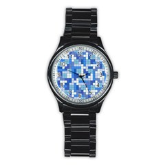 Tetris Camouflage Marine Stainless Steel Round Watch by jumpercat