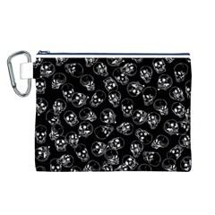 A Lot Of Skulls Black Canvas Cosmetic Bag (l) by jumpercat