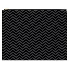 Dark Chevron Cosmetic Bag (xxxl)  by jumpercat