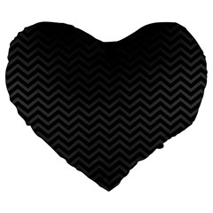 Dark Chevron Large 19  Premium Heart Shape Cushions by jumpercat