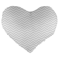 Light Chevron Large 19  Premium Heart Shape Cushions by jumpercat
