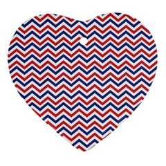 Navy Chevron Heart Ornament (two Sides) by jumpercat