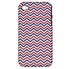 Navy Chevron Apple Iphone 4/4s Hardshell Case (pc+silicone) by jumpercat