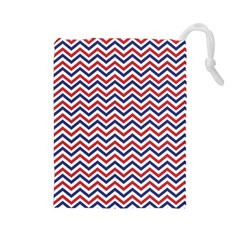 Navy Chevron Drawstring Pouches (large)  by jumpercat
