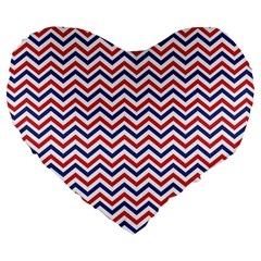 Navy Chevron Large 19  Premium Flano Heart Shape Cushions by jumpercat