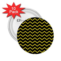 Yellow Chevron 2 25  Buttons (10 Pack)  by jumpercat