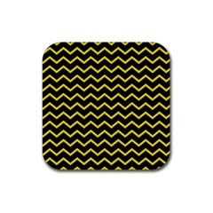 Yellow Chevron Rubber Coaster (square)  by jumpercat